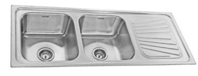 neelkanth kitchen sink double bowl with drain board design